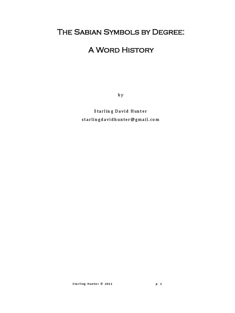 Introduction To The Sabian Symbols By Degree A Word History