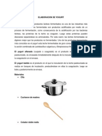 Informe de Elaboracion Del Yogurt