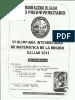 VI Olimpiada interescolar de matemática de la región callao 201