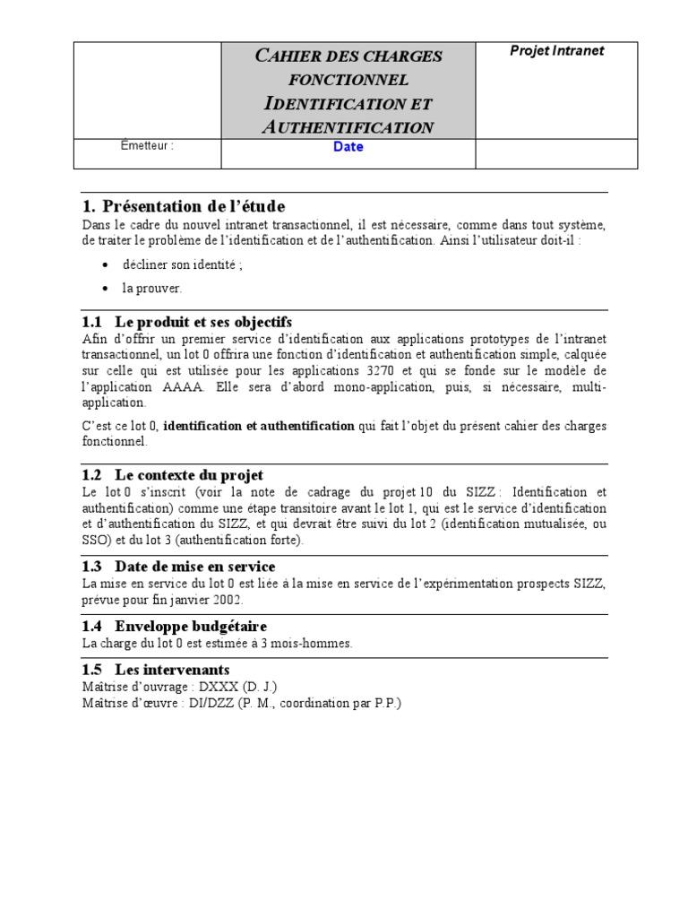 Exemple de Cahier de Charges Fonctionnel