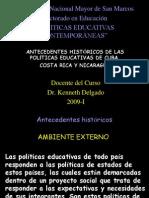 ANTECEDENTES HISTÓRICOS DE LAS POLÍTICAS EDUCATIVAS