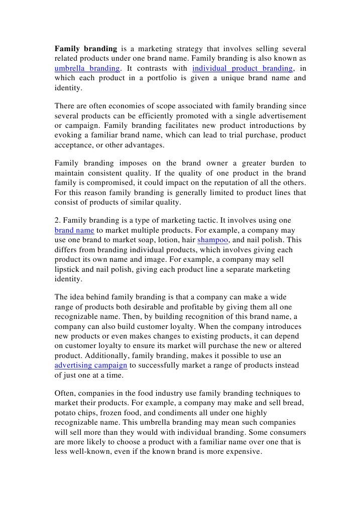 Family Branding | Brand | Marketing
