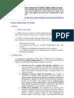 Índices sobre los trabajos a exponer el por Mª Emilia, Valentín, Aldín y Luis José