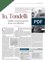 """Tondelli scrive a Tagliaferri, """"La Lettura"""", 27nov11"""