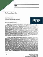 Latour - On Inter Objectivity