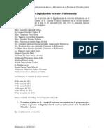 Propuesta de la comisión especial del Consejo Técnico de la FFyL sobre servicio de digitalización