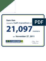 Concept2 2011 November 27 Half Marathon Certificate