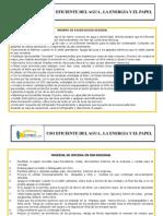 Fichas Educativas de Uso Eficiente Agua, Energia y Papel