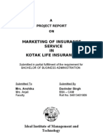Marketing of Insurance Service in Kotak Life Insurance