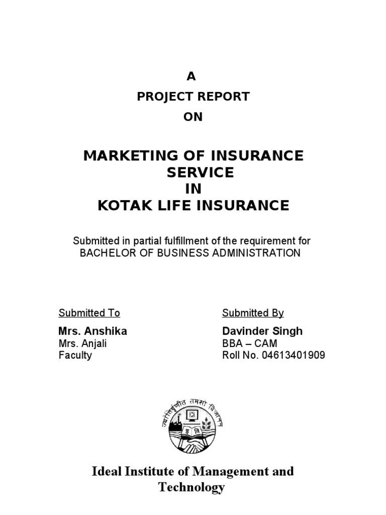 Marketing of Insurance Service in Kotak Life Insurance ...