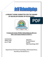 COMPERATIVE STUDY OF RISK TAKING BEHAVIOUR BETWEEN THE MALE AND FEMALE STUDENTS OF DSVV
