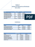 Nómina Lista A CEMET USACH 2011-2012