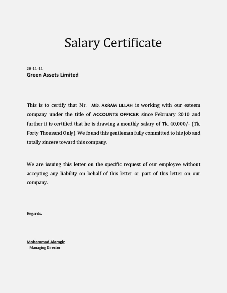 Salary Certificate Template  Format Of Salary Certificate Letter