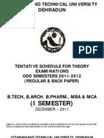 Schedule 2011 Btech Barch Bpharm Mba Mca 1st Sem