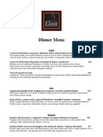 Dinner Menu a` La Carte