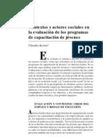 Jacinto Contextos y Actores Sociales en La Evaluacion de Programas