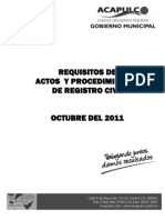 Requisitos de Actos y Procedimientos del Registro Civil Acapulco 2011