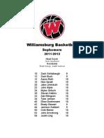 Williamsburg Basketball Soph Roster 11-12