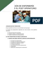 ATENCIÓN DE ENFERMERÍA DURANTE EL POST OPERATORIO