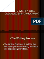 How to Write a Well Organized Essay or Paragraph