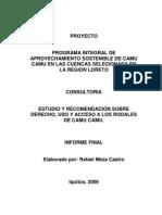 Estudio y recomendación sobre derecho, uso y acceso a los rodales de camu camu