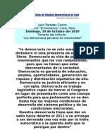 ¿La Democracia Peruana es Irreversible?