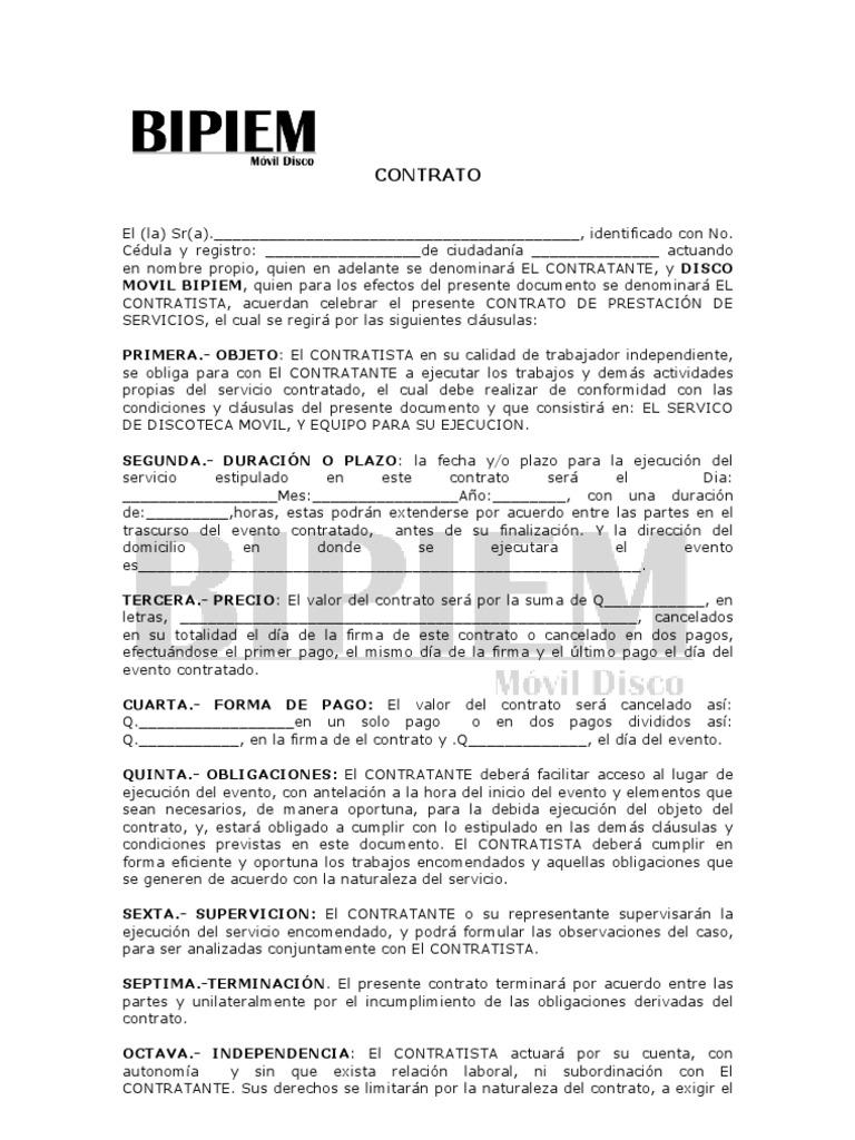 Modelo para elaborar contrato de prestacion de servicios for Modelo contrato por horas