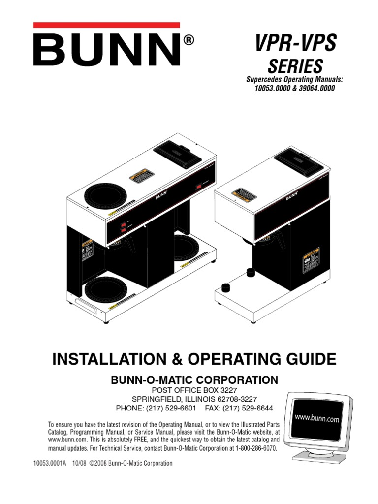 Vpr Vps Series Drink Brewing Bunn O Matic Wiring Diagram