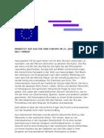 Manifest Auf Kultur Und Europa Im 21