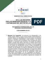 Manifiesto Del Cermi Estatal 3 Diciembre 2011