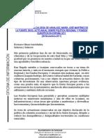PALABRASDELAALCALDESADEARANJUEZ,MARÍAJOSÉMARTÍNEZDE LAFUENTE,ENELACTOANUALSOBREPOLÍTICAREGIONALY FONDOS EUROPEOSENESPAÑA2011