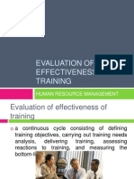 Evaluation of Effectiveness of Training