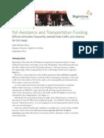 Toll Avoidance and Transportation Funding, Sightline Institute, September 2011