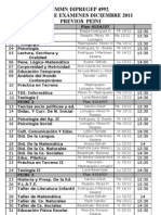 MESAS DE EXAMEN DICIEMBRE 2011 IMMN 4992 PREVIOS - LIBRES y 1º 2º residual