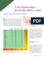 Certificación en España según normas UNE-EN-ISO 9000 y 14000