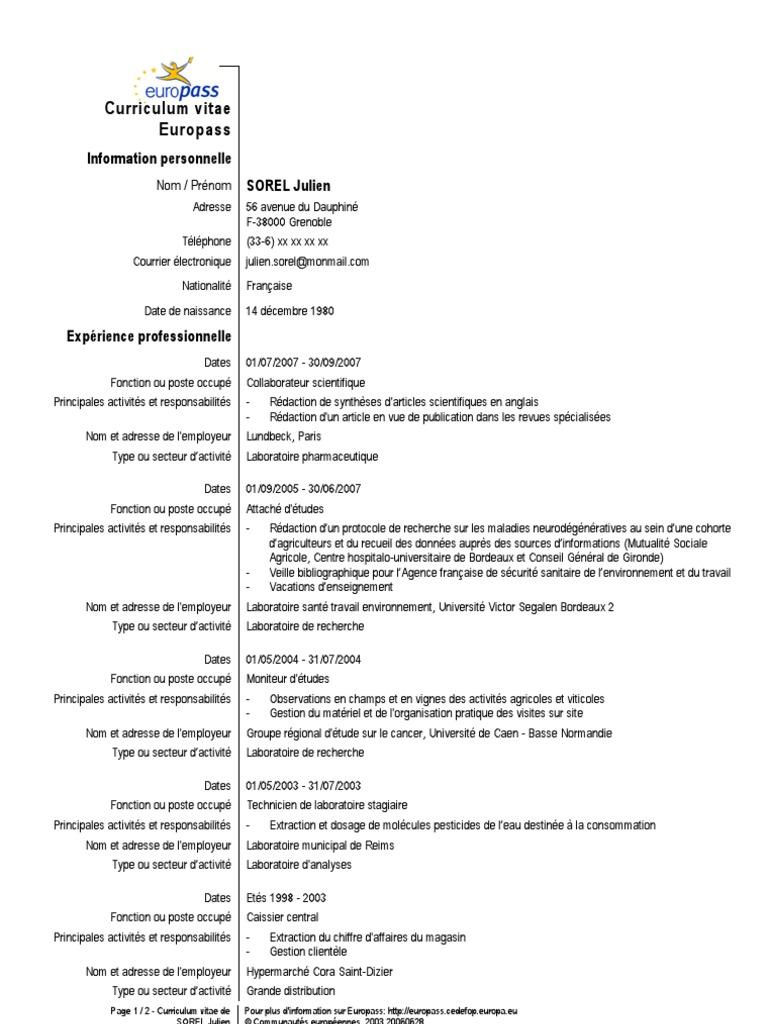 Exemple Cv Europass 3 épidémiologie Université