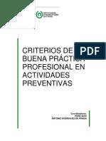 Criterios de buenas prácticas preventivas