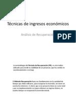Técnicas de ingresos económicos Análisis de recuperación