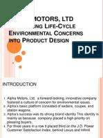 ALPHA MOTORS Ltd Integrating Life Cycle Enviro