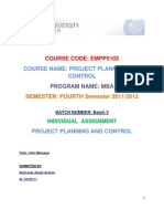 Individual Assigment - Project Planning and Control