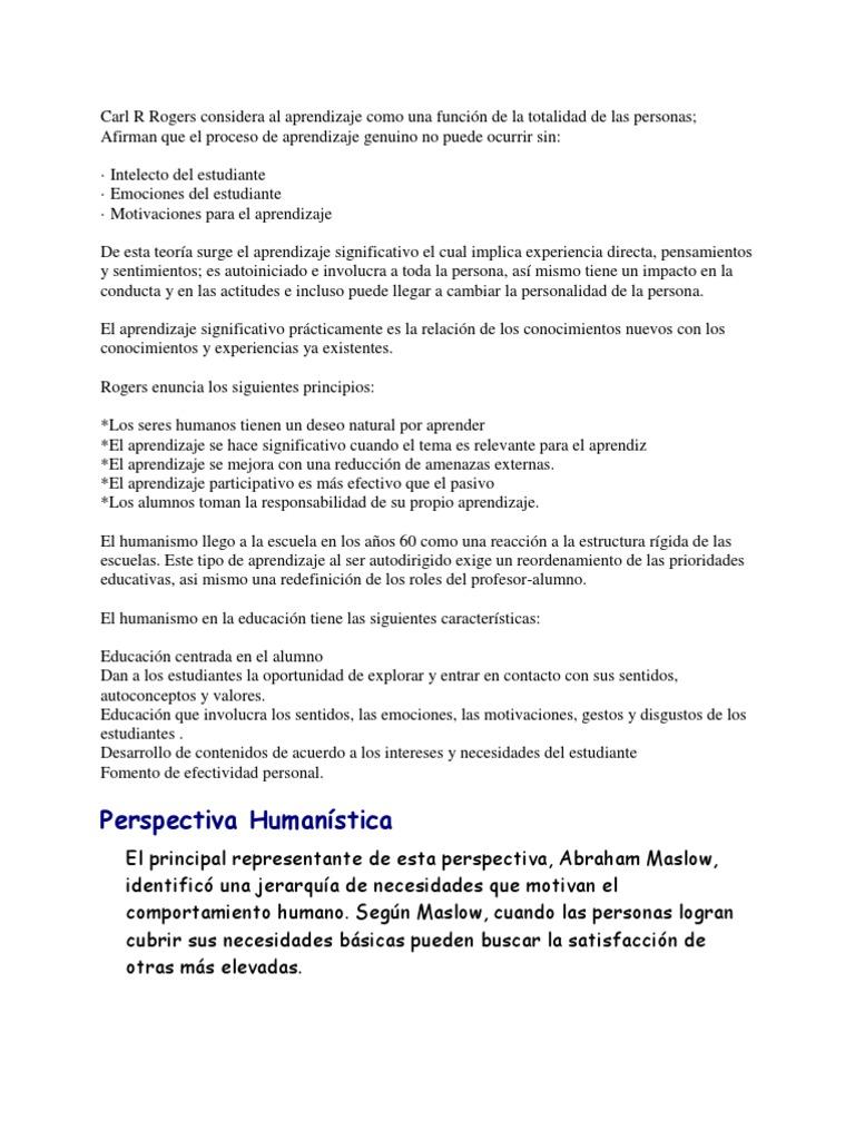 Teoria De Aprendizaje Humanista Aprendizaje Motivación