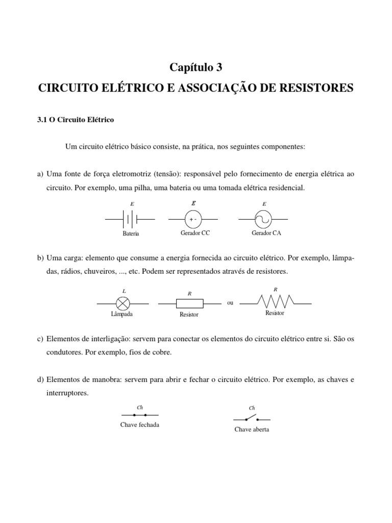 Circuito Eletrico : Circuito elÉtrico e associaÇÃo de resistores