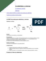 Las pruebas de aldehídos y cetonas