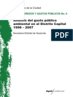 Gasto Público Ambiental en el Distrito Capital 1998 - 2007