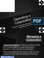 Operating a Corporation