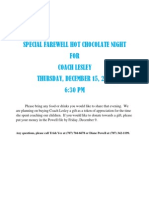 Special Farewell Hot Chocolate Night