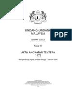 Akta 77 - Akta Angkatan Tentera 1972 ( Pind 2006 )