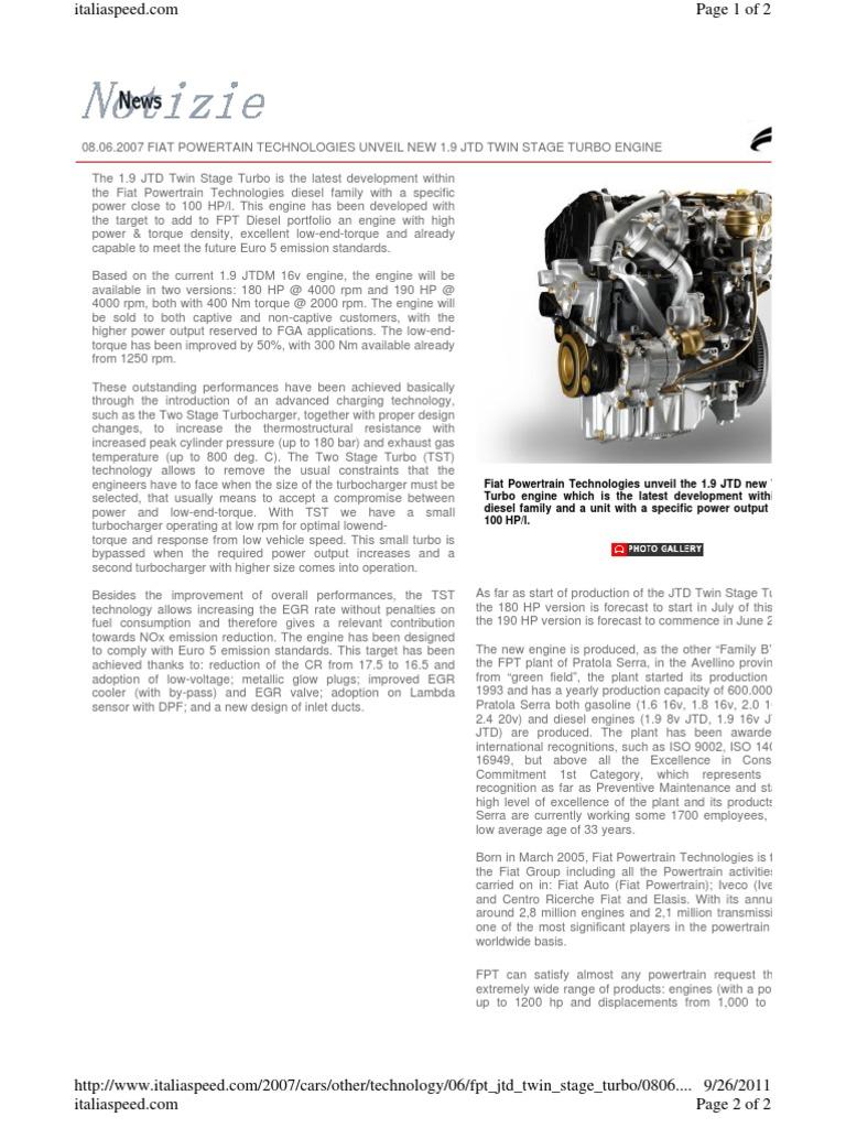 Fiat 1.9 JTD 2 Stage Turbocharging Http Www.italiaspeed