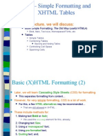 Lecture 5 - Simple Formatting and XHTML Tables