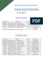 HORARIOS PARTIDOS 3-12